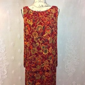 Connected Apparel Maroon Tan Floral Twofer Dress